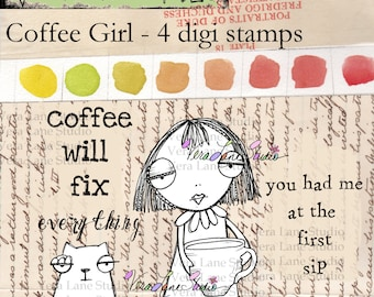 Whimsical coffee lover gal with cup o cat digi stamps.  Two sentiments included for papercrafting fun!