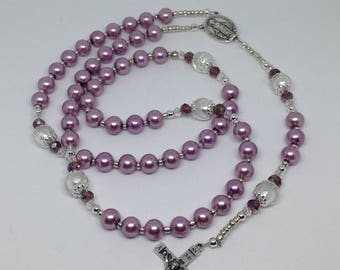 Rosary, Catholic Pink Pearl and Clear Frosted White Beads and Crystal Spacer Beads