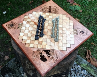 READY TO SHIP! - Chivalry Game, Camelot Board Game, Traditional Hybrid Strategy Game, Handmade from maple w/ Tufstone-cast playing pieces