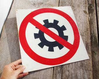Vintage Tin Sign, Industrial Metal Sign, Danger Sign, Garage Bar Decor, Soviet Union, Prohibition Sign