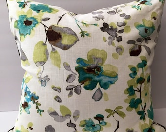 Grey green white watercolor floral pillow with insert