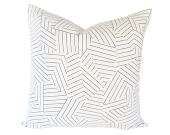 Deconstructed Stripe Black designer pillow cover - Made to Order - Miles Redd fabric for Schumacher