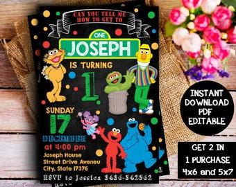 Sesame Street Invitation Instant Download, Sesame Street Instant Download, Elmo Birthday Invitation, Elmo Instant Download, Elmo Invitation