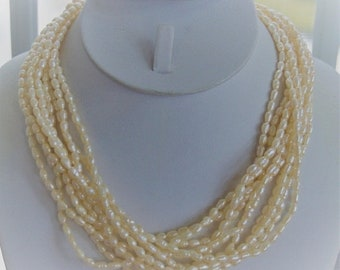 """On sale Freshwater Pearl Multi-strand Necklace, 14K Clasp, Vintage, 17"""" (TB301)"""