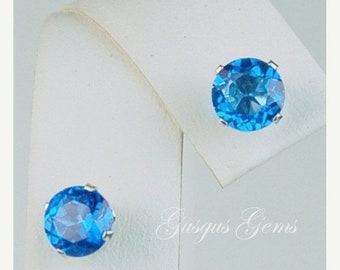 MothersDaySale Ice Blue Topaz Sterling Silver Stud Earrings 6mm 2ctw