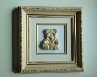 Teddy bear frame, teddy bear decor, teddy bear nursery, teddy bear art, teddy bear gift, bear nursery decor, teddy bear lover, wall art