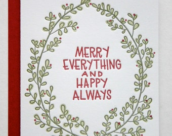 Letterpress Holiday Card Merry Everything and Happy Always