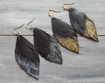 Handmade Genuine Black Leather Feather Earrings, Long Boho Feather Earrings, Bohemian Feather Jewelry, Feather Shape Earrings Boho Jewellery