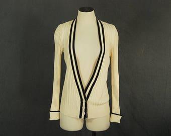 vintage 70s Cardigan - 1970s Cream Ribbed Knit Sweater Striped Cardigan SZ M