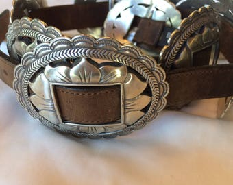 VTG 1993 Brighton Silver tone and Leather Belt Made in the USA