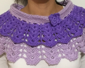 OneTimeKnit Purple Double Layer Scarf