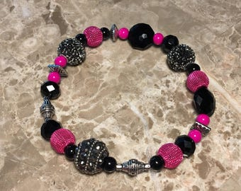 """12"""" Pink & black GlamPaws Collection Pet necklace"""