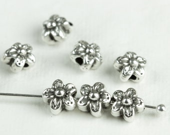 25%OFF 6 Greek Mykonos Casting Metal Flower Daisy Spacer Bead Charm Pendant Silver Plated Beach jewelry craft supplies