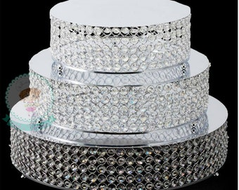 FAST Shipping!! Crystal Round Cake Stand, 3 pc Set