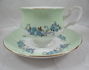 1950s Vintage English Staffordshire Green Teacup and Saucer - English Tea Cup
