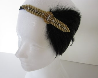 Flapper Feather Headband, 1920s Party Headband, Flapper Costume, Black and Gold Headband, Roaring Twenties Party, Glam Fashion