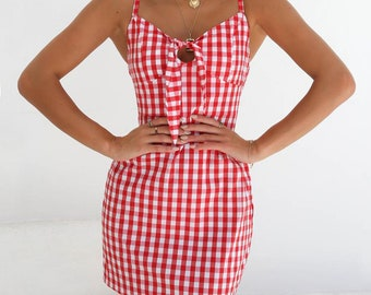 Women's Red Plaid Summer Dress