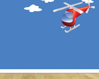 Wall Decals, Helicopter and Clouds Fabric Wall Decal, Helicopter Wall Art, Wall Sticker