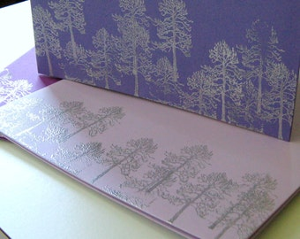 FOLDING FOREST - set of 3 standard pocket folders in shades of purple, lilac and lavender with metallic silver trees for a forest motif