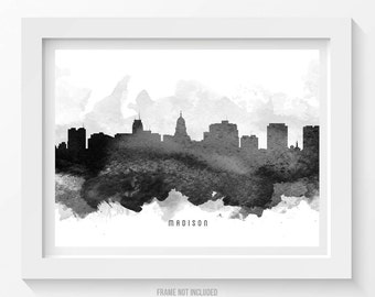 Madison art print madison wall art madison wisconsin skyline madison wisconsin skyline poster madison cityscape madison art madison decor home decor publicscrutiny Choice Image