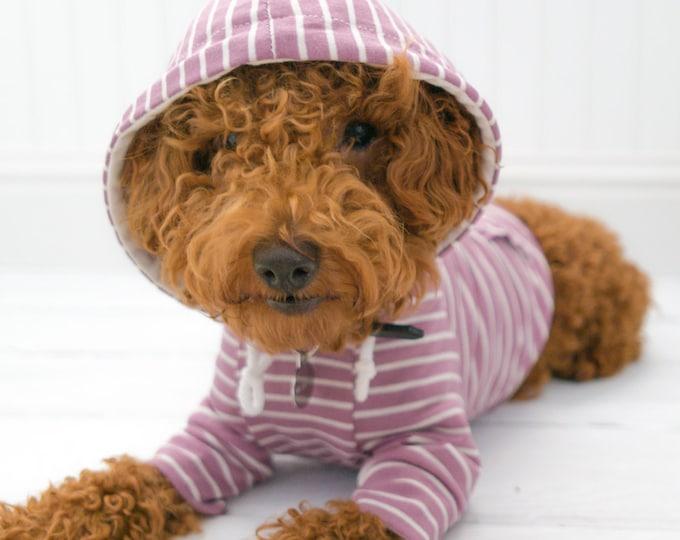 Dog Clothes, Mauve Stripe Hoodie with Pom Pom and Pocket