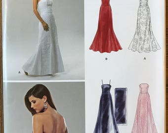 UNCUT New Look 0534 Dress Sewing Pattern Size 8-10-12-14-16-18 Prom, Wedding, Ball Gown, Strapless, Halter, Mother of the Bride