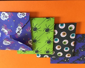 Halloween Envelopes set of 4 handcrafted ideal for Halloween parties or invites