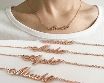 Custom Name Necklace Personalized - Initial Necklaces in Golden Silver Meiko Sakiko Haruna Kumiko Mizuho Ayaka