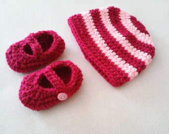 Baby Striped Beanie & Mary Jane Booties Set - 0 to 3 Months, 3 to 6 Months, 6 to 12 Months - Any Color - Baby Girl, Baby Boy