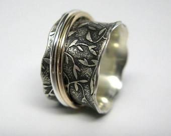 Leaf Pattern Sterling Silver and 10k gold Spinner Ring