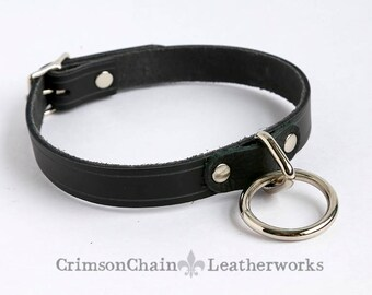 Black unlined ring collar by Crimson Chain Leatherworks