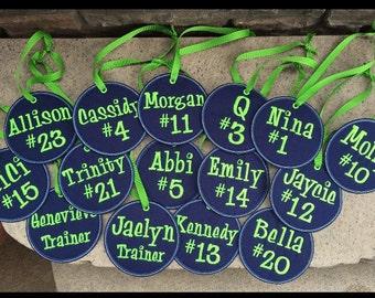 Tag, personalized tag, bag tag, sports team, sports bag tag, embroidered tag, backpack tag, personalzied bag tag
