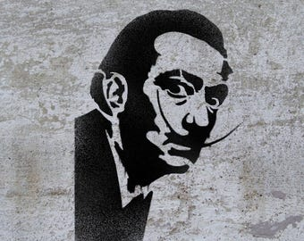 Salvador Dali STENCIL Famous People Crazy Spanish Painter Face Template Wall Art Craft