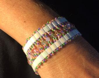 Number 36 Hand woven Cleopatra bracelet. Maine Artist