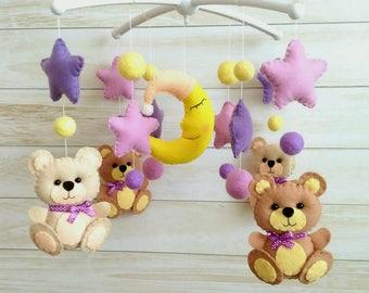 Crib mobile Bears Felt beads Hanging mobile Baby mobile  Felt mobile  Childrens mobile Multicoloured mobile