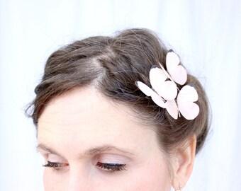 3 pale pink silk butterfly hair clips . heaven's blush . realistic gift for outdoor wedding, bride, bridesmaid, flower girl, garden, ballet