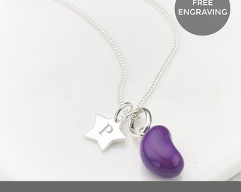 Personalised Grape Jelly Bean Star Necklace