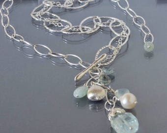 Lariat Necklace with Aquamarines in Silver, Multi Stone Lariat Necklace with Chain, Quartz Multi Chain Necklace, Gift for Her