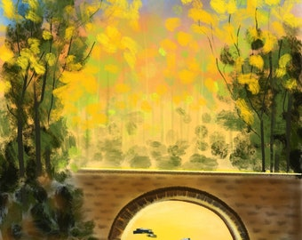 Fall Sunshine Over The Bridge