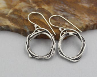 Melted Silver Dangle Hoop Earrings, Oxidized Silver Hoops, Small Silver Hoop Earrings with Patina, Artisan Melted Silver Hoops