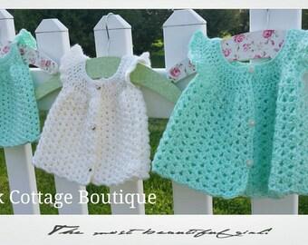Flutter sleeve crochet dress, cream color, baby girl, NB