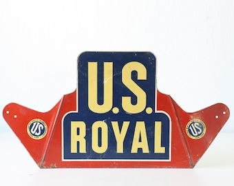 Vintage US ROYAL Sign, Red, White and Blue, Tire Sign
