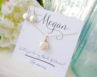 Custom Name Card Bridesmaid Proposal Gift Set, Personalized Bridal Party Thank you Gift, Freshwater Coin Pearl Necklace and Earrings