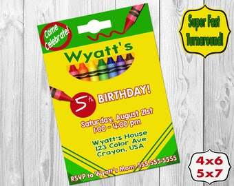 Crayon Box Birthday Party Invitation, Crayon Invitation, Crayon Invite, Printable