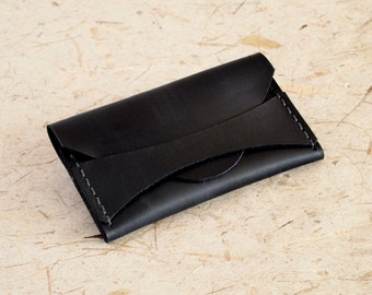Handmade Black Leather, Card - Business Card Case - Wallet