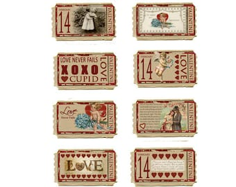 Vintage Love Tickets Printable, Valentine Collage Sheet, Digital Download, cupid, love hearts, Tags Scrapbook Clip art, DIY Valentine cards