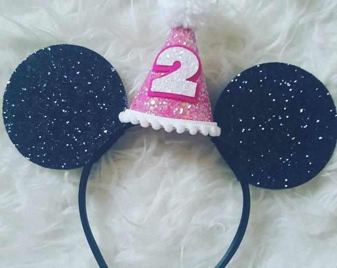 Glittery Mouse Ears Headband | Birthday Ears | Mouse Headband| Mouse Ears