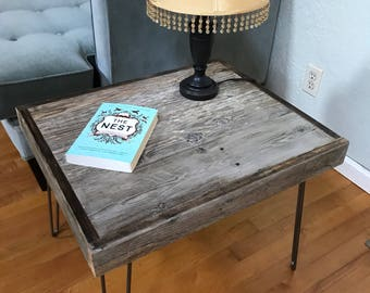 Reclaimed Barnwood Side Table - Hairpin Legs  - Rustic - Modern - Upcycled