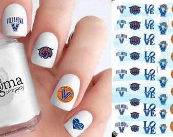 Villanova Wildcats Basketball Nail Decals (Set of 51)