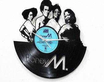 Boney M Wall  Art -Vinyl LP Record Clock or Framed Vinyl-Great Rock'n'Roll Gift ,Vinyl Wall Clock,Wall records clock